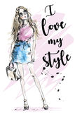 Beautiful young girl with slogan about style. Hand drawn fashion woman. Sketch. Royalty Free Stock Photos