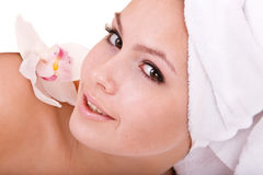 Beautiful young girl in spa. Health resort. Stock Photos