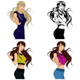 Beautiful girl in sportswear.Set of four illustrations Stock Image