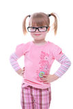 Beautiful young girl standing with glasses smiling. Isolated on white Stock Photos