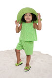 Beautiful Young Girl Standing In The Sand royalty free stock image