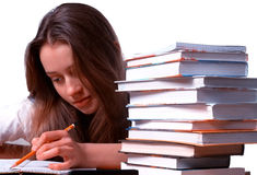 Beautiful young girl  studying Stock Photography