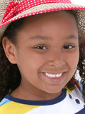 Beautiful Young Girl In Summer Hat Stock Photo