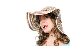 Beautiful young girl in summer hat Stock Photos