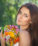 Beautiful young girl in summer park Royalty Free Stock Photography