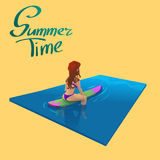 Beautiful young girl surfer character sitting on a board in the sea. Vector illustration. Stock Photo