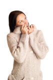 Beautiful young girl in a sweater Stock Photography