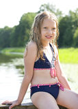 Beautiful young girl in swimsuit Stock Images