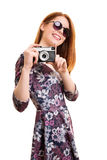 Beautiful young girl taking a photo Stock Photo