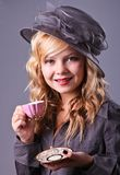 Beautiful young  girl at a tea party Royalty Free Stock Image