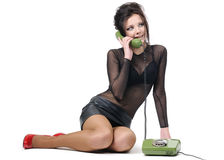 Beautiful young girl with telephone Royalty Free Stock Photos