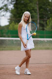 Beautiful young girl tennis player Royalty Free Stock Photography