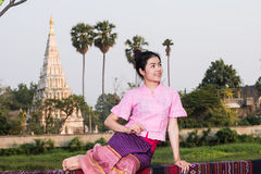 Beautiful young girl with thai traditional dress Stock Image