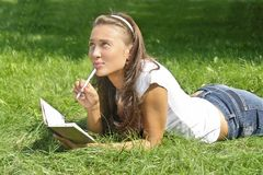 Beautiful Young Girl Thinking Stock Photos