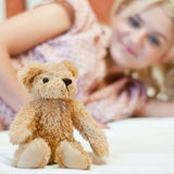 Beautiful young girl with toy Royalty Free Stock Image