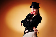 Beautiful young girl in a tuxedo Royalty Free Stock Image