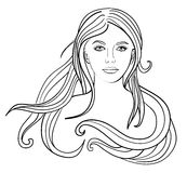 Beautiful young girl, vector Stock Photography