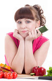 Beautiful young girl with vegetable Royalty Free Stock Images