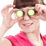 Beautiful young girl with vegetable Royalty Free Stock Photos