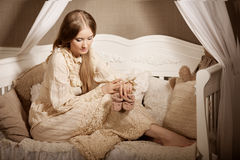 Beautiful young girl in vintage dress. Gentle pretty woman the c Stock Photos