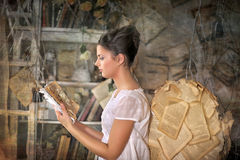 Beautiful young girl in a vintage dress. Beautiful young girl in a vintage dress with wings on her  back Stock Photo