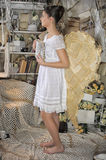 Beautiful young girl in a vintage dress. Beautiful young girl in a vintage dress with wings on her  back Royalty Free Stock Photos