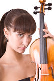 Beautiful young girl with violin. Royalty Free Stock Image