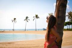 Beautiful young girl on the Waikiki beach Royalty Free Stock Photography