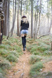Beautiful young girl walking in the autumn forest. Stock Photos