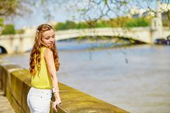 Beautiful young girl walking in Paris Royalty Free Stock Image
