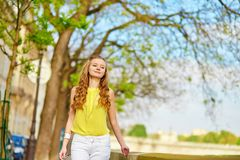 Beautiful young girl walking in Paris Royalty Free Stock Photo