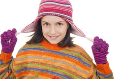 Beautiful young girl in warm winter clothes Stock Photo