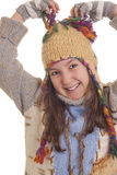 Beautiful young girl in warm winter clothes Stock Photos