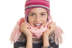 Beautiful young girl in warm winter clothes Stock Image