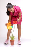Beautiful young girl watering a plant Stock Images