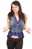 Beautiful young girl wearing blue crop top posing Royalty Free Stock Photo