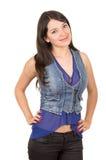 Beautiful young girl wearing blue crop top posing Stock Photography