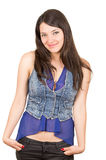 Beautiful young girl wearing blue crop top posing royalty free stock images