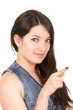 Beautiful young girl wearing blue crop top posing Royalty Free Stock Photos