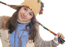 Beautiful young girl wearing hat and gloves Stock Photos