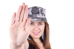 Beautiful young girl wearing a military cap Stock Image