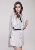 Beautiful young girl wearing shirt fashion on grey Royalty Free Stock Photos