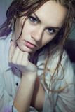 Beautiful young girl with wet hair Stock Photos