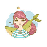 Beautiful young girl with a whale. Royalty Free Stock Photography
