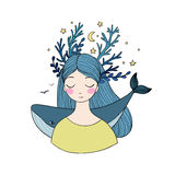 Beautiful young girl with a whale. Hand drawing isolated objects on white background. Vector illustration Stock Photography