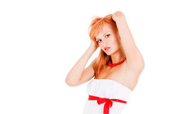 Beautiful young girl in white Stock Photos