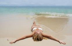 Beautiful young girl in white bikini Royalty Free Stock Images