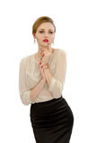 Beautiful young girl in a white blouse and black skirt Stock Image