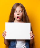 Beautiful young girl with white board Stock Photos