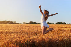 Beautiful young girl in white dress jumping in  wheat field. Beautiful young girl in white dress jumping in golden wheat Royalty Free Stock Images